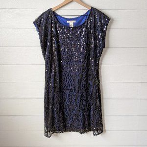 Laundry by Design Navy & Black Sequin Shift Dress